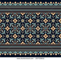 Illustration of Vector illustration of ukrainian folk seamless pattern ornament. vector art, clipart and stock vectors. Hungarian Embroidery, Folk Embroidery, Embroidery Stitches, Embroidery Patterns, Cross Stitch Designs, Cross Stitch Patterns, Bordado Popular, Watercolor Paper Texture, Embroidery Online