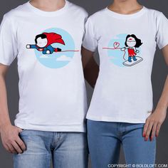 "With a superman & wonder woman cartoon figures, BoldLoft ""Made for Loving You"" his & hers matching couple shirts are the perfect gifts for superhero lovers."