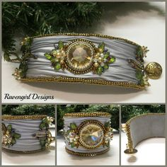 CHAMPAGNE & ROSES Bead Embroidered Shibori Silk Cuff made by RAVENGIRL DESIGNS on Facebook
