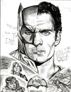 """Batman vs Superman"" by one of my current students.  Advanced portrait art."