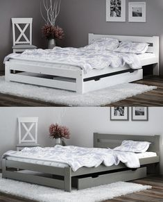 🙂 is definitely the most popular bed frame in our offer. Its universal look and modern design are key factors👍 White Wooden Bed, Wooden Bed Frames, Wood Beds, Pine Furniture, Grey Furniture, Bedroom Furniture, Girl Bedroom Designs, Girls Bedroom, Mattress Manufacturers
