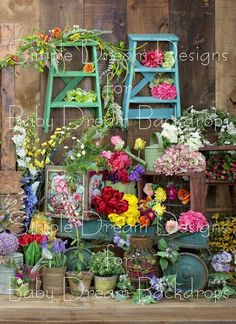 Rustic Flower Shoppe 60x80 vertical no stand