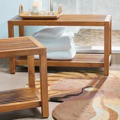 Teak Rectangle Slatted Bench