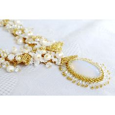 Wedding White Pearl Jewelry Statement Seed Beads Flower Moonstone... ❤ liked on Polyvore featuring jewelry, necklaces, flower pendant necklace, bridal pearl necklace, bridal jewellery, pearl necklace and pearl flower necklace