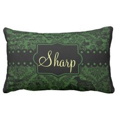 Green and Black Fancy Name Pillow