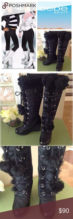 """BEBE Sport quilted faux fur trimmed boots How spectacular are these? Boots w/ quilted body, patent leather trim around the shoe portion. Faux fur trim at top, ends of lace up ties & more along front for added style. Rubber wedge sole has an approx 1/4"""" platform & 3 1/2"""" overall heel height w/ Bebe Sport logo. Side zip. Wear: great condition w/ a couple of teeny scuffs on patent leather. Have to scrutinize to see. Boots stored stuffed to keep correct form, minimize creasing. Great condition…"""