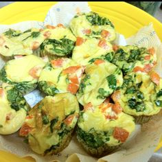 Breakfast for the week: spinach tomato egg muffins. Adopted from: http://blogilates.com/recipe-index/quick-high-protein-breakfast-idea-clean-egg-muffins