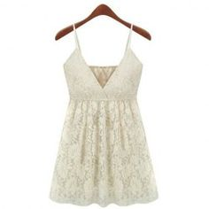 $10.30 Lace Splicing Spaghetti Strap Sleeveless V-Neck Sexy Style Polyester Straps Tank Top For Women