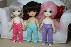 Handmade leggings for Lati Yellow, Pukifee or other same size dolls.   Hawaiian dresses