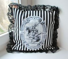 "Alice pillow   ""the white rabbit "" stripes. $33.00, via Etsy."
