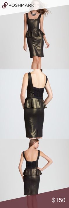 NWT Alice + Olivia peplum dress Brand new never worn dress with tags! A fun peplum dress with stunning copper-gold shimmer detailing and a cool zipper back. Absolutely perfect for a dressy event. It's a size 6 but can definitely fit a size 4 as well-it's stretchy. I'm open to offers! Alice + Olivia Dresses