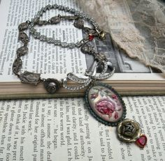 MARA upcycled pin necklace assemblage pink rose by lilyofthevally