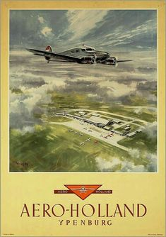 Aero Holland ~ Victor J. Retro Poster, Poster Ads, Vintage Travel Posters, Vintage Ads, Vintage Airline, Tourism Poster, Old Advertisements, Advertising, Travel And Tourism
