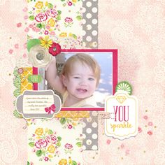 Digital scrapbook page by Tya Smith featuring the Petticoats collection by Echo Park available at www.snapclicksupply.com #digitalscrapbooking
