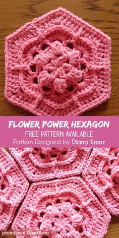 Transcendent Crochet a Solid Granny Square Ideas. Inconceivable Crochet a Solid Granny Square Ideas. Hexagon Crochet Pattern, Crochet Blocks, Crochet Flower Patterns, Crochet Stitches Patterns, Crochet Squares, Crochet Motif, Crochet Flowers, Crochet Hexagon Blanket, Pattern Flower
