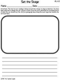 RL.4.3 - Have students draw the setting for a story as if it is a stage. Download this and 4 other common core activities for free in the preview.