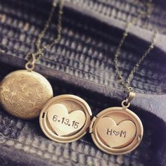 Custom Made Initials And Date Locket Necklace, Heart Locket, Anniversary Date, Engraved Locket Necklace
