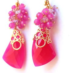 Hot Pink Chalcedony With Fuchsia Jade and Pink Amethyst Gold Vermeil... (95 CAD) ❤ liked on Polyvore featuring jewelry, earrings, chalcedony earrings, fuschia earrings, pink gemstone earrings, hot pink earrings and jade jewelry