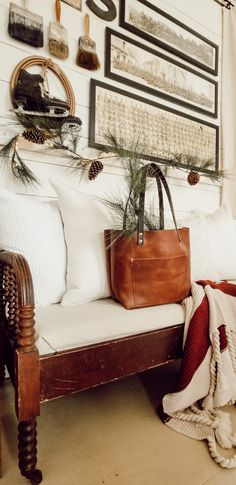Farmhouse Christmas Gallery Wall – Diana Marie Home – Farmhouse Decor Fireplace Decorating Your Home, Diy Home Decor, Antique Wall Decor, Simple House, Seasonal Decor, Entryway Decor, Farmhouse Decor, Diana, Christmas Things