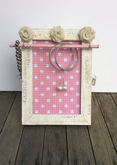 Jewellery organiser frame pink polka dot jewelry by PicToFrame
