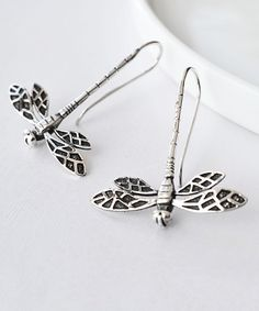 Look at this Sterling Silver Dragonfly Drop Earrings on #zulily today!