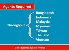 Agents Required Looking for experienced exhibition space selling agents from Bangladesh, Indonesia, Malaysia, Myanmar, Taiwan, Thailand and Vietnam. For more details, contact: rupa@alfajer.net
