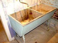 Damaged concrete sink repair.