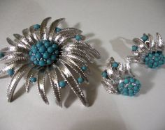 Vintage Silver Tone BOUCHER Demi-Parure with Turquoise Accents - Edit Listing - Etsy