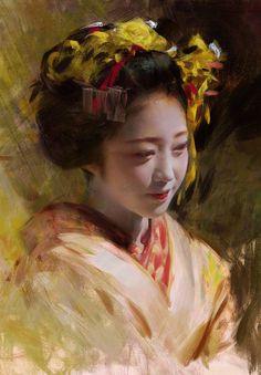 Geisha portrait by Wangjie Li Painting People, Figure Painting, Painting & Drawing, L'art Du Portrait, Digital Portrait, Portrait Paintings, Art Geisha, The Elder Scrolls, A Level Art