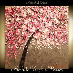Made2order ORIGINAL HUGE Landscape Abstract Pink Cherry Blossoms Oil Painting Thick Texture Gallery Fine Art -Nicolette Vaughan Horner