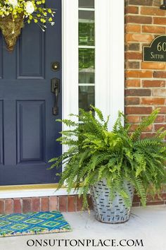 Olive bucket planters filled with ferns add a vintage farmhouse element to any front porch. DIY and easy to do! Bucket Planters, Front Door Colors, Front Porch Decorating, Front Door Planters, House Front, Porch Planters, Spring Decor, Decks And Porches, Front Yard