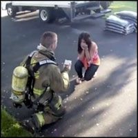 Firefighter Completely Surprises His Girlfriend With a Great Proposal - Great Reaction!