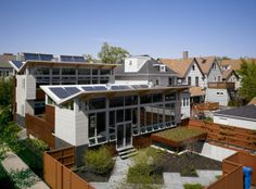 Designed by Farr Associates, the Yannell House in Chicago achieves net zero status through passive solar strategies, solar photovoltaic and solar thermal water heating as well as geothermal heating and cooling