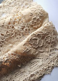 Vintage Ivory Embroidered Tablecloth with Lacy Edging ....