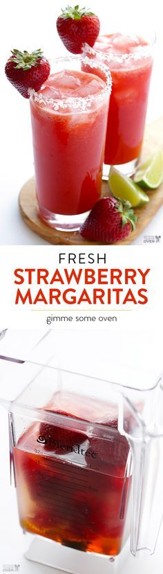 Fresh Strawberry Margaritas -- grab some sweet fresh strawberries, toss everything in a blender, and you'll have tasty margs in no time! | gimmesomeoven.com
