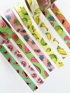 Washi got very fruity with these high quality paper masking tapes. Brighten up your diary or get a lot of DIY pleasure with them! Washi Tape Storage, Washi Tape Crafts, Washi Tape Set, Paper Storage, Masking Tape, Cool Stationary, Cute Stationery, Stationary Supplies, Cinta Washi Tape