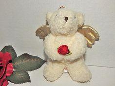 Angel Bear Plush Stuffed Animal Vintage Russ Berrie Ornament
