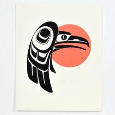 Jaargang 1980 Phil Janze Native 'Raven en zon' door NativeArtPrints