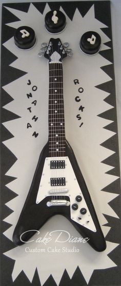Flying V guitar cakebuttercream with fondant accents Birthday