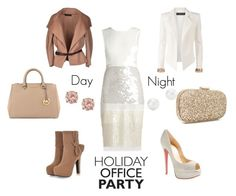 #officeparty by stupendam on Polyvore featuring polyvore, fashion, style, BCBGMAXAZRIA, Dsquared2, Alexandre Vauthier, JY Shoes, Christian Louboutin, MICHAEL Michael Kors, Anya Hindmarch, D'Yach and Tiffany & Co.