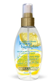The best products to lighten your hair for summer—scroll through for tips | OGX Sunkissed Blonde Lemon Highlights Highlight Activating Citrus Oil Mist, $7.99; at Ulta