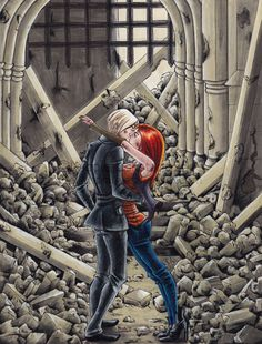 Second Wizard War kiss ~ Scorose Harry Potter Kiss, Harry Potter Draco Malfoy, Ginny Weasley, Harry Potter Fan Art, Harry Potter Memes, Harry E Gina, Harry And Ginny, Rose And Scorpius, Scorpius Malfoy