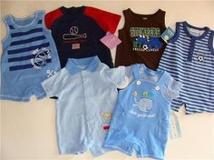 """You are bidding on SIX (6) Outfits for your baby boy    ALL BRAND NEW!!!     1)Wishes and Kisses 2pc set """"whale you be mine"""" size Newborn  2)Just One Year by Carters romper """"little helper"""" size 3mo  3)First Impressions romper """"sailor"""" blue size 0-3mo  4)First Impressions romper """"soccer"""" blue 0-3mo  5)Carters romper """"stompers"""" brown size 3mo  6)Carters romper """"hometown hero"""" blue/red size 3mo"""