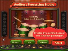 Auditory Processing Studio by Virtual Speech Center Inc. ($20.99)  for adults and children ages 7 and up who exhibit Central Auditory Processing Disorder or other auditory processing disorders. This research-based app implements the bottom-top approach to treatment of auditory processing disorders and focuses on improving auditory processing through auditory discrimination, auditory closure, and phonological awareness activities. Users can also introduce background noise to help children or adults practice their listening skills in a noisy environment.