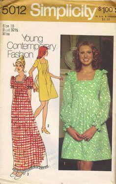 Vintage Prairie Dress 70s Simplicity Sewing by AdeleBeeAnnPatterns, $6.50