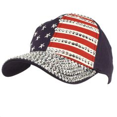 Cute USA Flag Jewel Rhinestone Bling Studs Baseball Ball Cap Hat Adjustable Navy #SS #BaseballCap