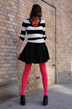 Black & white stripes, hot pink tights