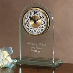 Personalized Glass Wedding Clock - Everlasting Love Design  $49.95   great idea for mom and dads anniversary once I see how large it is, i dont want a mini,lol