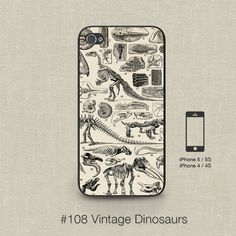 Cell phone case iphone 5 / 5s / 5c 4 / 4s samsung galaxy s3 / s4 -Vintage French Dinosaurs Print Design Number 108