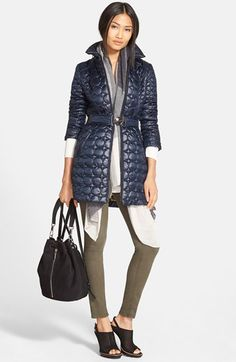 Laundry by Shelli Segal Quilted Coat, Trouvé Sweater and rag & bone/JEAN Skinny Jeans available at #Nordstrom